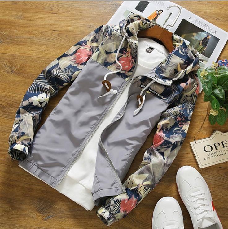 Moda das mulheres dos homens camo Floral patchwork faculdade jaquetas com capuz Casal verão blusão fino casaco jaqueta masculina de beisebol
