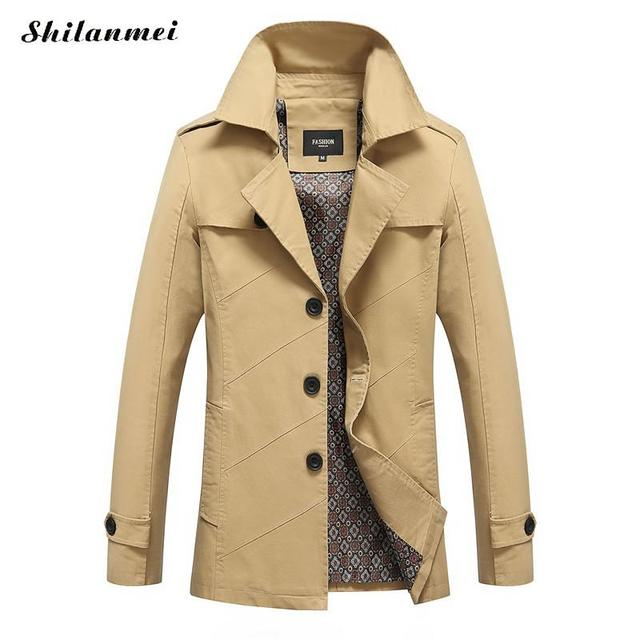 8b6f85b57efc2 Trench Coat Men Plus Size 4xl British Style Mens Long Coats Slim Fit  Breasted Men Trench