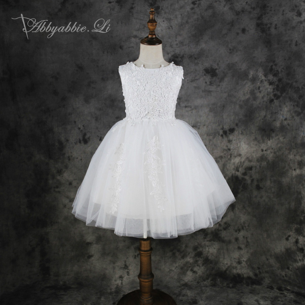 Abbyabbie Li First Communion Wedding Party White Ball Gown Bridesmaid Children Beauty Costume Princess Lace High
