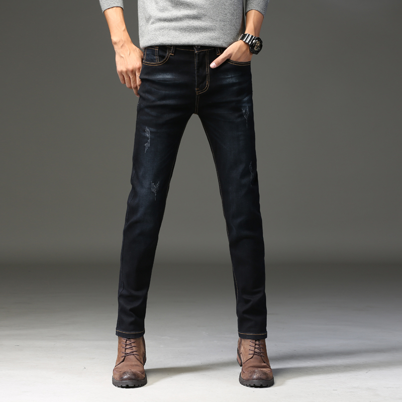 Summer new fashion mens jeans stretch black jeans mens business was thin feet pants mens pants Slim straight trousers