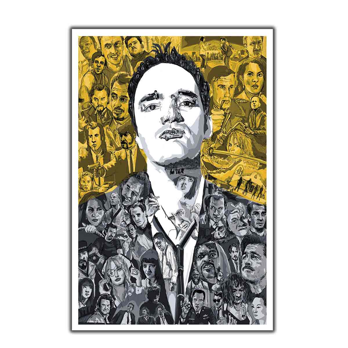 Quentin Tarantino Movie Star Artwork Art Poster custom Home Wall decor 8x1212x18 24x36canvas living roomdecoration image