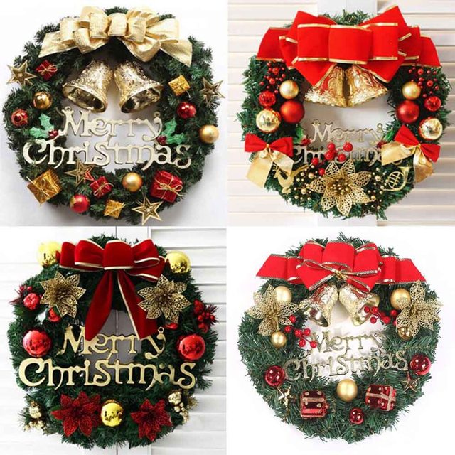 Us 7 4 30cm Beautiful Elegant Hanging Christmas Wreath Garland Ball Cone Xmas Ornaments Window Door Decoration 4 Colors For Choice In Wreaths