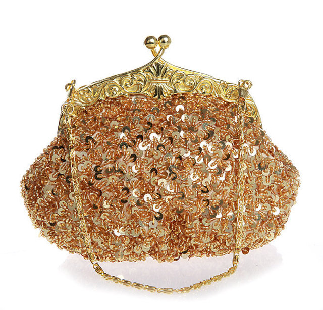 women Designer Frame Beaded Sequins evening Handbag Sparkling Luxury diamond  decrative bridal Purse 8d3b17ba62fc