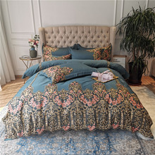 New Green Red Blue Luxury 100S Egyptian Cotton Royal  Wedding Bedding Set Gold Rose Lace Duvet Cover Bed Linen/sheet Pillowcases