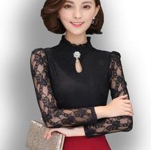 3XL Plus Size 2017 Women New Long Sleeve Crochet Lace Elegant Blouse Shirts Lace Floral Casual Tops Shirts Slim Lace Shirt