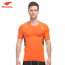 Man round collar short sleeve compression T-shirt quick-drying gym clothing fitness training shirt free shipping SY12-603