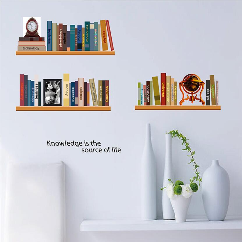 Creative bookshelf pattern wall decor stickers study room - Stickers decorativos para paredes ...