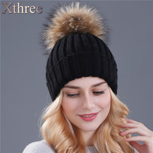 xthree mink and fox fur ball cap pom poms winter hat for women girl 's hat knitted beanies cap  thick  cap