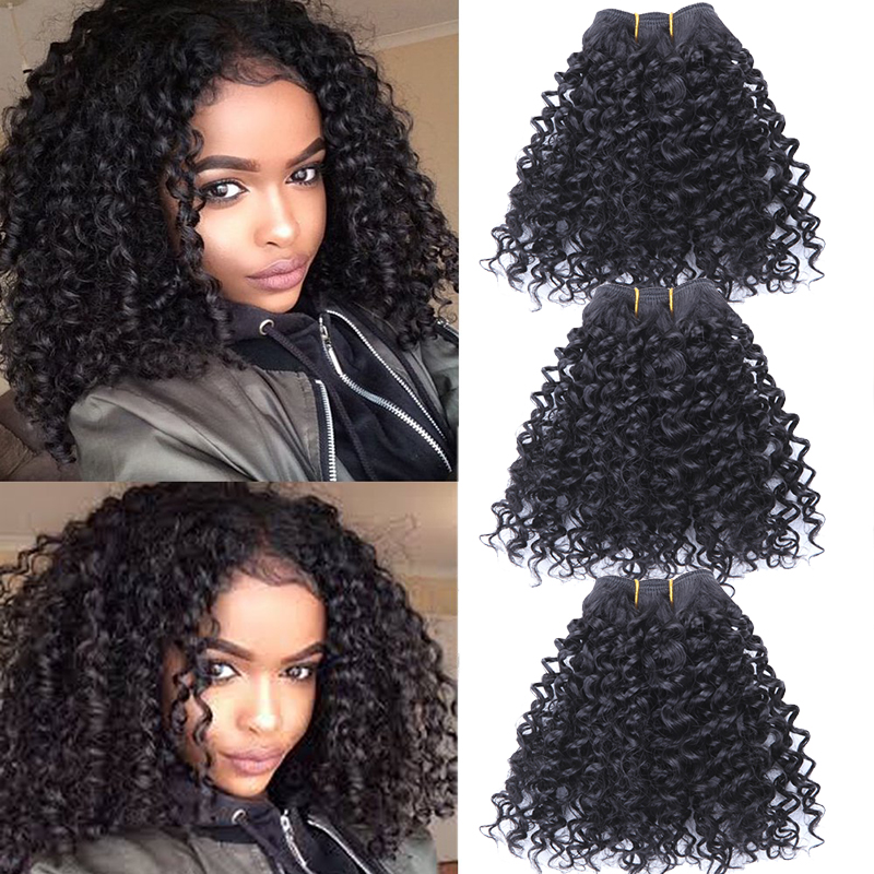 Blended Hair Weaves 3 Bundles 8Inches Ombre Hair Wefts Short Afro Kinky Curly Hair Extensions
