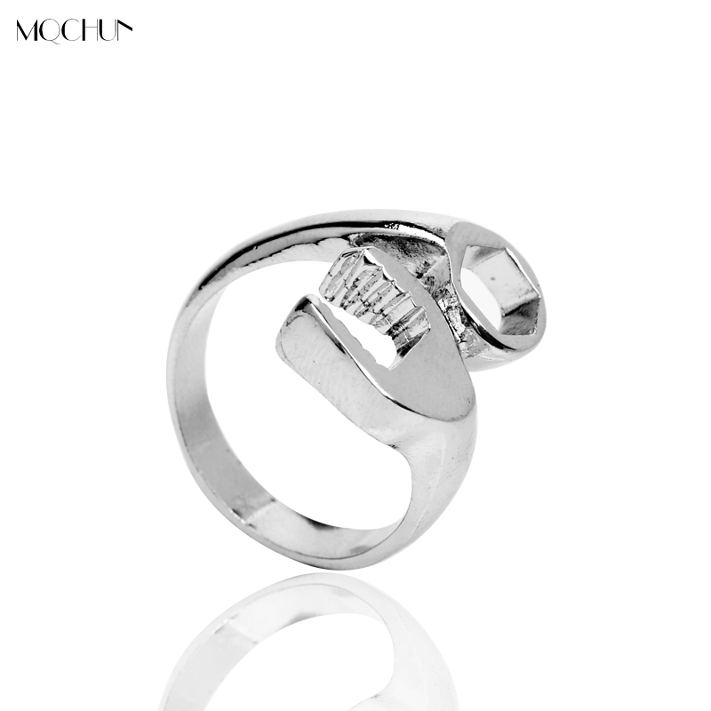 ANNA JEWERLY Store MQCHUN Fashion New style punk biker wrench Cool Biker Mechanic Wrench Mens Ring Punk Style Rings for Men Christmas Party Gift