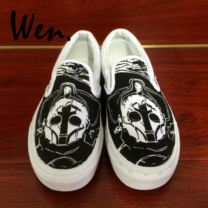 Wen Design docteur qui a peint à la main chaussures personnalisé sans lacet toile noire chaussures filles garçons cadeaux uniques Sport de plein air baskets