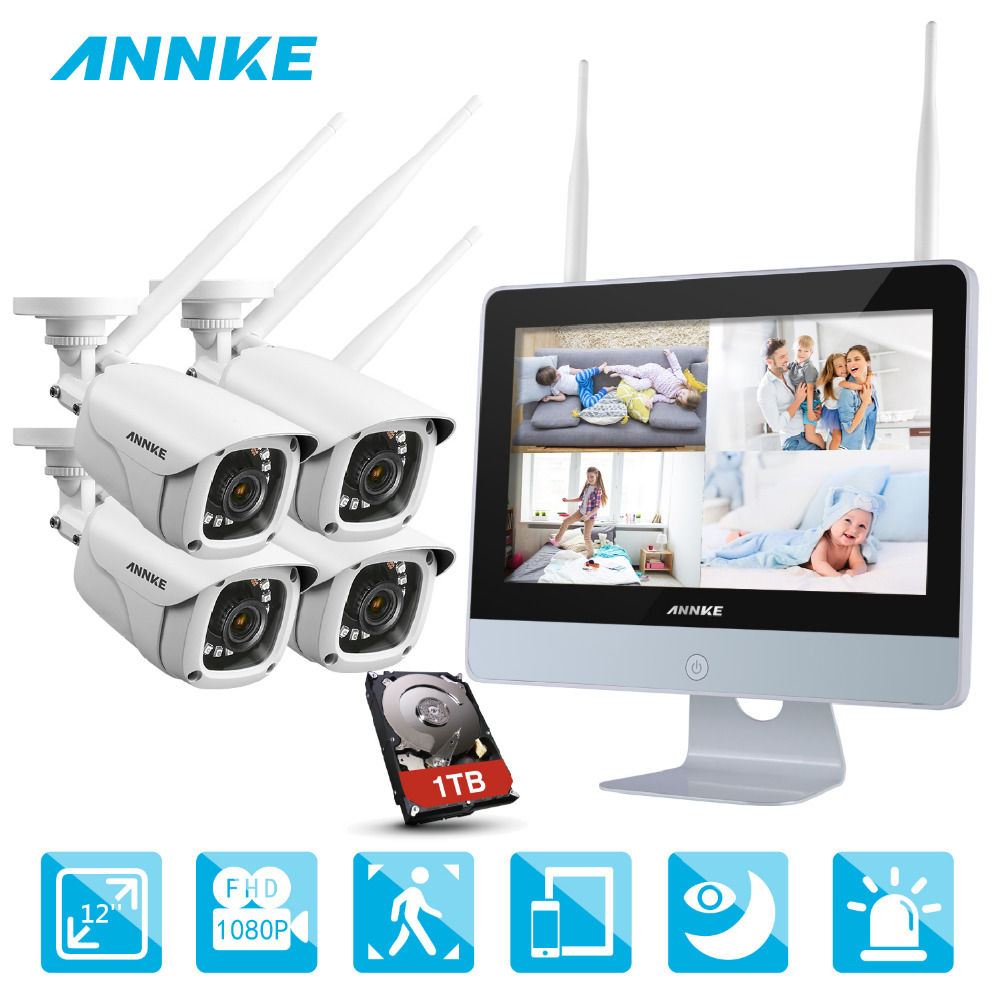 ANNKE NVR Kit 4 Caméras 1080 p 4CH sans fil WIFI NVR IP Réseau CCTV Caméra de Sécurité Système de Surveillance Kit IP66 intérieur extérieur