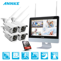 ANNKE NVR комплект 4 Камера s 1080 P 4CH беспроводной WI FI NVR IP сети видеонаблюдения Камера Системы комплект видеонаблюдения IP66 Крытый Открытый