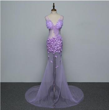 Fashion Purple Flowers Mesh Sleeveless See Through Long Dress Women's Bar Prom Clothes Nightclub Women Singer Dance Show Dress