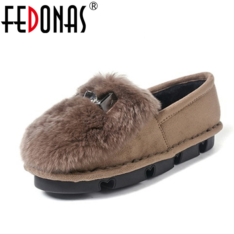 FEDONAS New Arrival Fashion Women Flat Heels Shoes Female Warm Loafers Plush Inside Snow Shoes Woman Rabbit Fur Casual Shoes 2017 fashion winter flat fur shoes women rabbit fur tide lazy shoes slip on casual plus velvet loafer shoes autumn new arrival