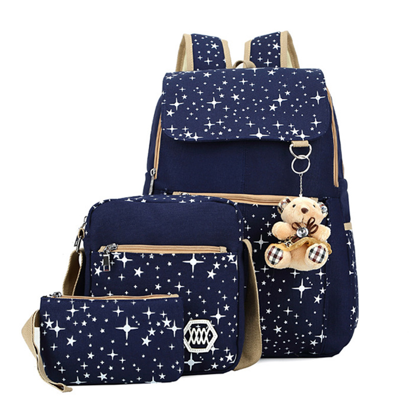 4 Colors Brand Canvas Printing Women Backpack Handbag 3 Pieces Sets School Bags For Teenager Girls