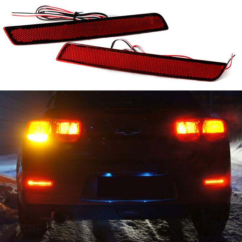 2Pcs Red Rear Bumper Reflectors Light Brake Parking Warning Night Runing Tail Lamps LED For Chevrolet Malibu 2013 2014 2015 2pcs red rear bumper reflectors light brake parking warning night runing tail lamps led for honda odyssey 2007