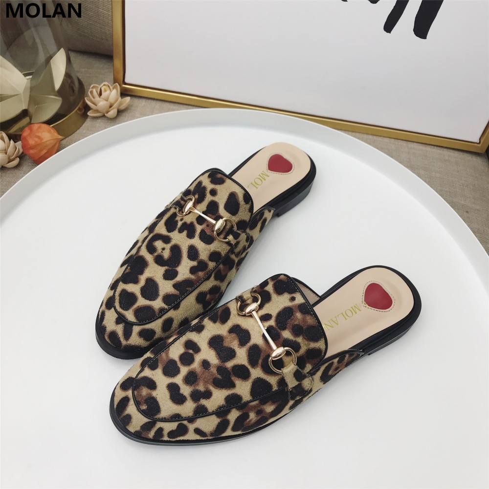 MOLAN Brand Designers 35-40 Sexy Leopard Metal Chain Round Toe Flat Flock Slippers Woman Shoes Slip On Loafers Mules Flip Flops miulamiula brand designers 2018 fashion rabbit hair woman flat slides lady shoes furry slippers slip on loafers mules flip flops