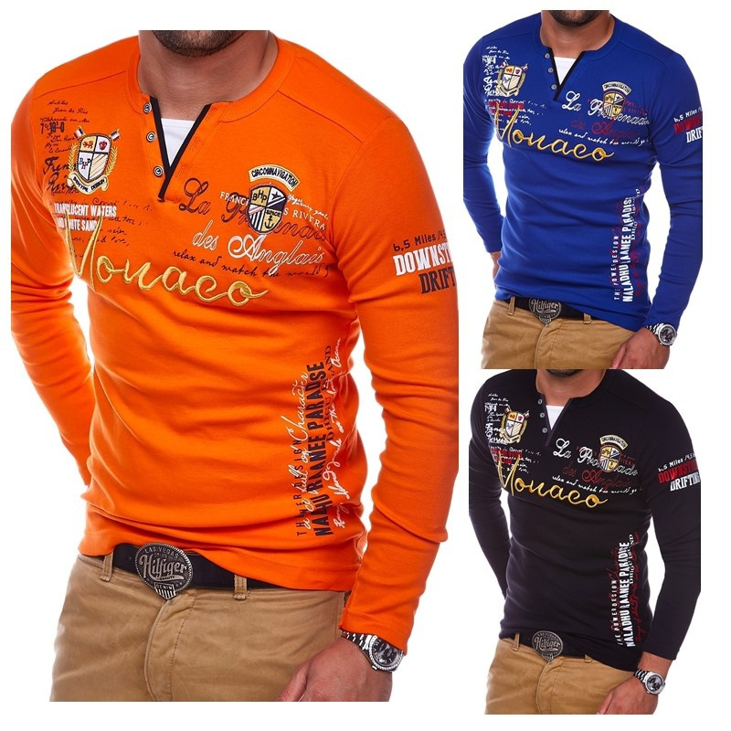 Zogaa New Spring Autumn Full Sleeve   Polo   Shirt Cotton Letter Print Men   Polo   Shirt Fashion Daily Classic Long Sleeve Shirt 2019