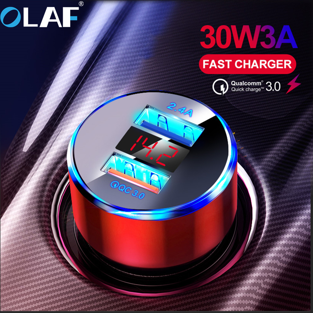 OLAF 30W 3A Quick Charge 3.0 USB <font><b>Car</b></font> <font><b>Charger</b></font> for iphone 11 Xiaomi Mi 10 Supercharge SCP <font><b>QC3.0</b></font> Fast USB <font><b>Car</b></font> Phone Fast Charging image
