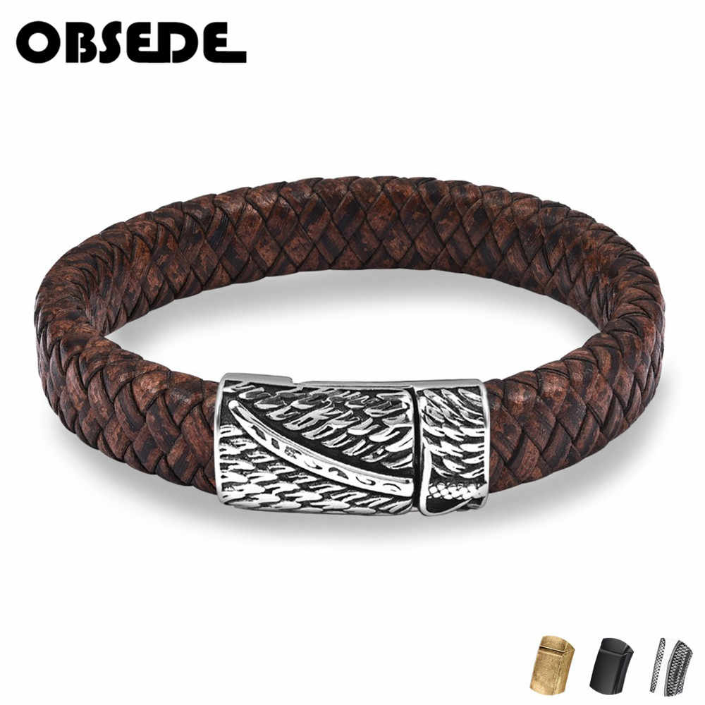 OBSEDE Men Punk Jewelry Braided Leather Bracelet Stainless Steel Magnetic Clasp Minimalist Wristband Bangles Retro vintage style