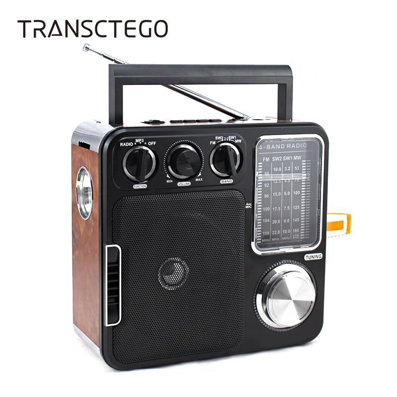 TRANSCTEGO Radio Portable Retro Desktop Vantage Antique Semiconductor Radio FM U Disk SD Card As Gift