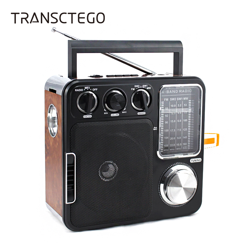 TRANSCTEGO Radio Portable Retro Desktop Vantage Antik Semiconductor Radio FM U Disk / SD-kort som gave til Old Man AUX-In