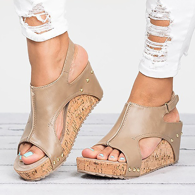 a0d5774e2317 MCCKLE Women Platform Gladiator Sandals Plus Size Wedge Heels Female Clogs  Hook Loop Peep Toe Party Shoes Summer Footwear-in High Heels from Shoes on  ...