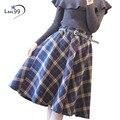 As Mulheres Saia xadrez 2016 Xadrez Outono Inverno Saia Uma Linha De Cintura Alta de Lã Plissada Longa Streetwear Saias Xadrez de Lã Do Vintage