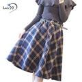 Plaid Skirt Women 2016 Autumn Winter Plaid Skirt A-Line High Waist Woolen Long Pleated Vintage Woolen Streetwear Plaid Skirts