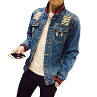New 2016 Denim Jacket Men Striped Baseball Collar Ripped Holes Jeans Coats Male Slim Fit Motorcycle