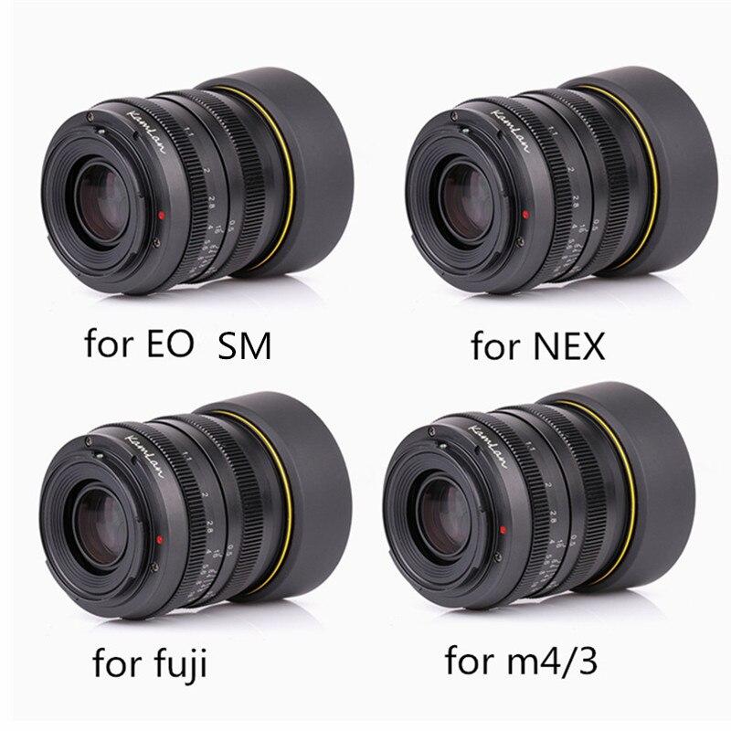 Kamlan lentille 50mm F1.1 APS-C Grande Ouverture Manuel Focus Lens Pour Canon EOS-M NEX Fuji X M4/3 caméras Avec lens Hood