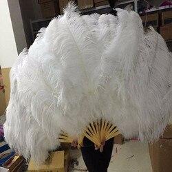 Grandi Piume di Struzzo Fan Con Bambù Doghe per la Danza Del Ventre Festa di Halloween Ornament Decor Necessario, 12 ossa