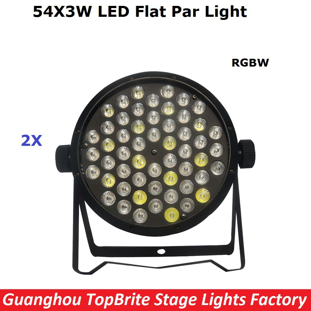 цены  2XLot High Quality Led Par Cans 54X3W RGBW Led Flat Par Lights For Professional Stage Dj Disco Laser Lights Free Shipping