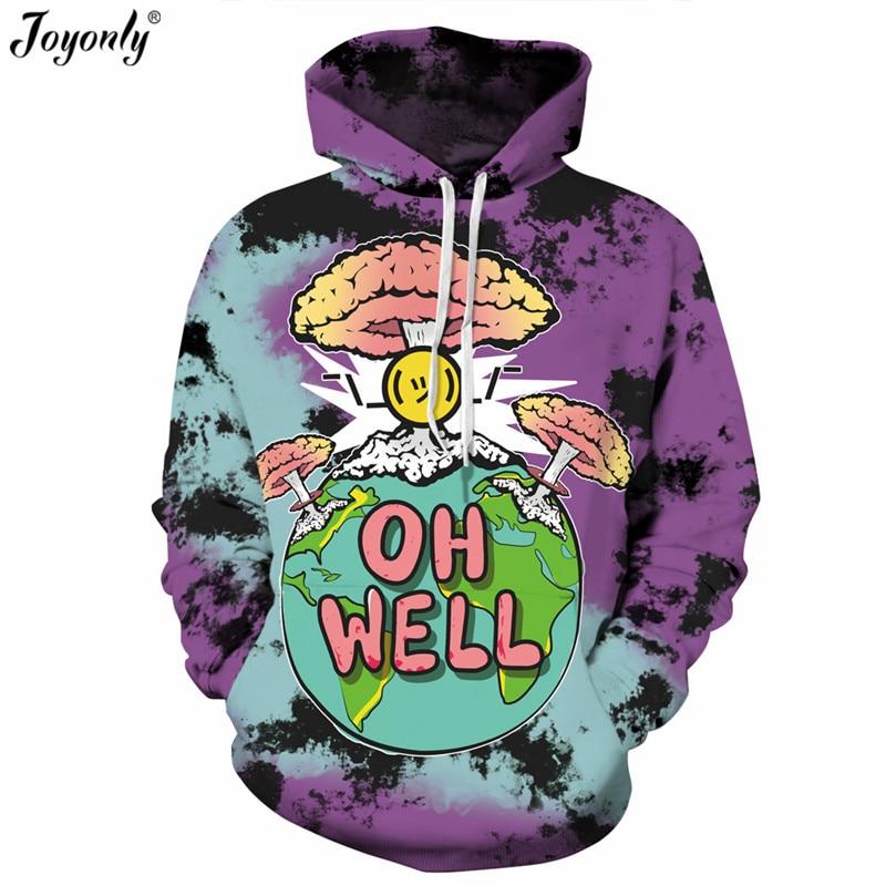 Joyonly 2018 New Fashion Funny Mushroom Cloud Earth Oh Well Print 3D Sweatshirts Hooded Tracksuit Purple Smoke Hip Hop Hoodies