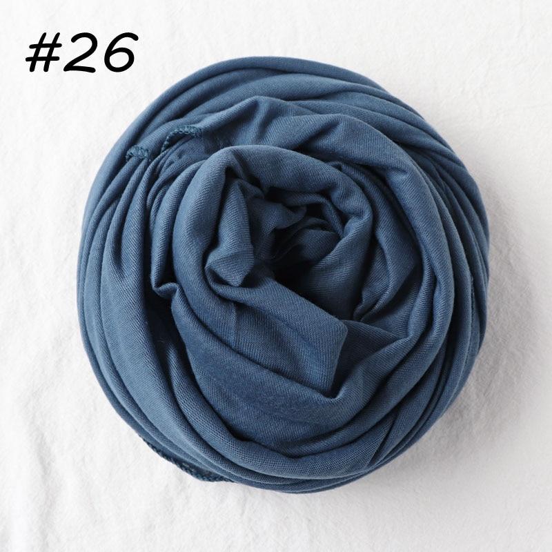 Один кусок Хиджаб Женский вискозный Джерси-шарф Мусульманский Исламский сплошной простой Джерси хиджабы Макси шарфы мягкие шали 70x160 см - Цвет: 26 jeans blue