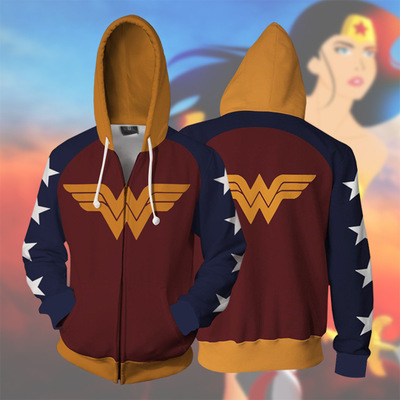 Wonder Woman Princess Diana Cosplay Costume 3D Printing zipper Sweatshirts Hooded sweater fashion Men and women Anime jacket