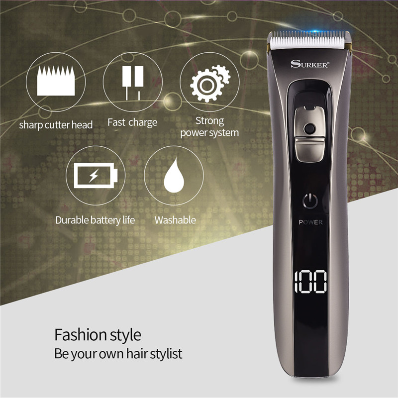 Whole Body Washable Electric Hair Clipper USB Rechargeable Hair Cutting Machine Kid Adult Hair Trimmer Battery Remaining Display