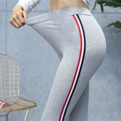 Hohe Qualität Baumwolle Leggings Side stripes Frauen Casual Legging Hose Plus Größe 5XL Hohe Taille Fitness Leggings Plump Weibliche