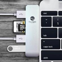 Алюминий USB Тип C Концентратор USB 3.0 5 в 1 Тип C Usb-концентратор TF/SD Кард-Ридер, 3 USB 3.0 Портов