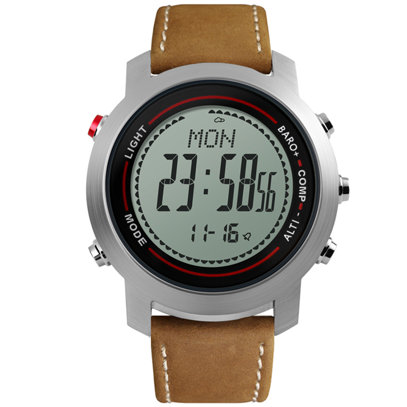 Men Outdoor Sports Watches Compass Leather Strap Barometer Altimeter Digital Wristwatches Clock Relogio Masculino Men Outdoor Sports Watches Compass Leather Strap Barometer Altimeter Digital Wristwatches Clock Relogio Masculino
