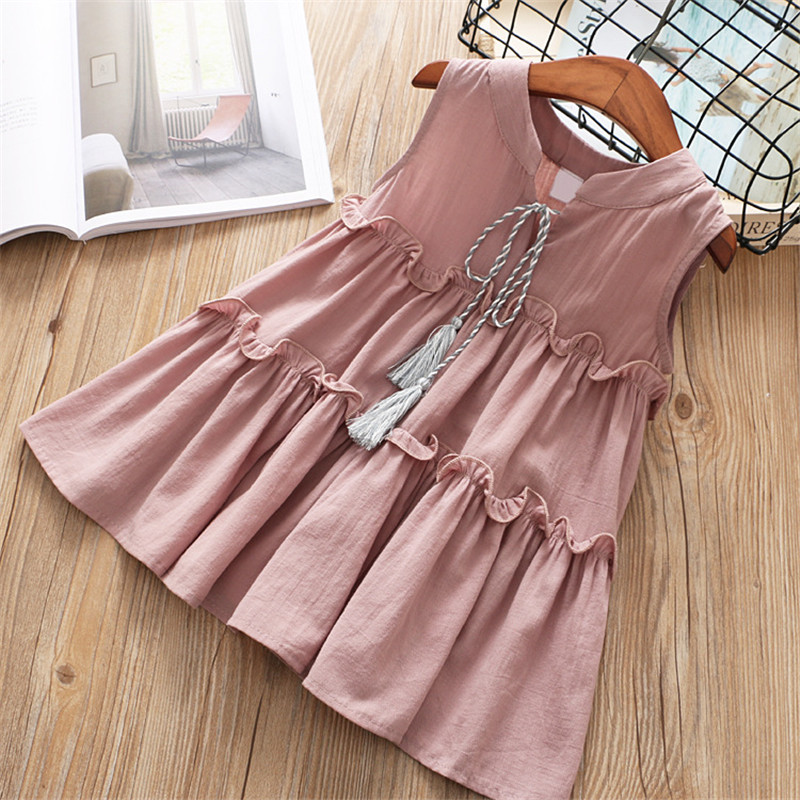 High quality 2018 new casual active sleeveless Solid bow kid children girls dress baby girl clothes white yellow girls clothing