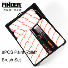 "FINDER 9"" 8PCS Paint Roller Set Round Polyester Paint Runner Pro Black Wall Painting Tools Paint Roller for Wall Decoration(China)"