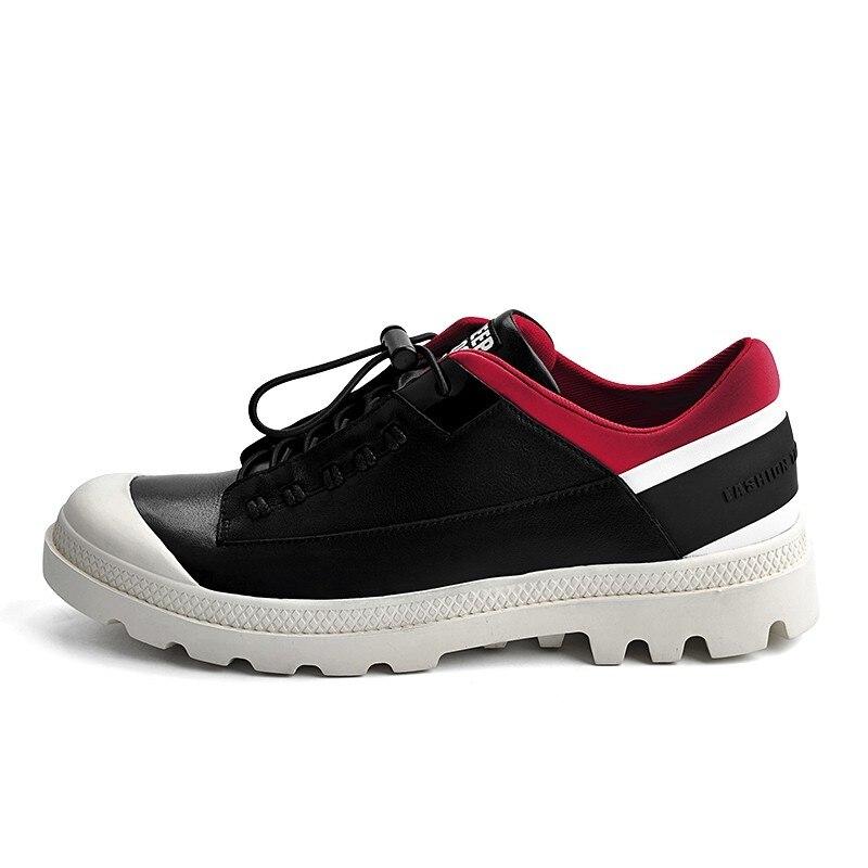 Marca De 2019 Moda Zapatos Dedo Primavera Transpirable Martin Pie Al Redondo Los Aire black Empalmado Casual Genuino White Libre Del Hombres Cuero Nuevo 6qz6rnH4