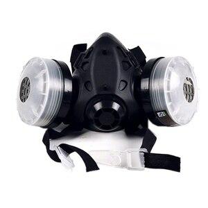 Image 3 - نصف وجه قناع واقي من الغاز مع مكافحة الضباب نظارات N95 الكيميائية الغبار قناع تصفية التنفس التنفس للرسم رذاذ لحام