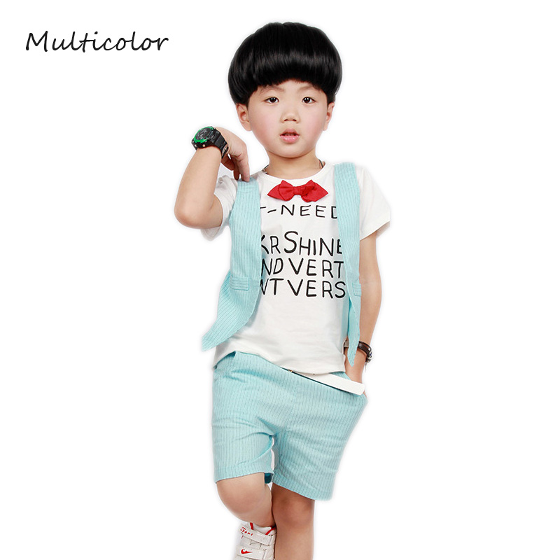 Summer Boy Sets Clothing Set Summer Set Print Shirt + Short Pants Baby Boy Clothing Set Butterfly Bow Cotton Toddler Boy Clothes 2017 brand summer boy sport print a clothing set short sleeve t shirt short pants summer boy school fashion clothes set