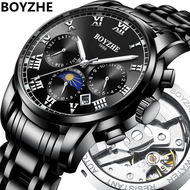 BOYZHE Men Automatic Mechanical  Fashion Luxury Brand Stainless Steel Moon Phase Business Waterproof Sports Watch relogio mascul