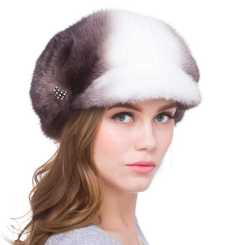 2018 JKP новая полностью из норки женская меховая шапка для сохранения тепла модная черная с белым женская меховая шапка DHY18-19