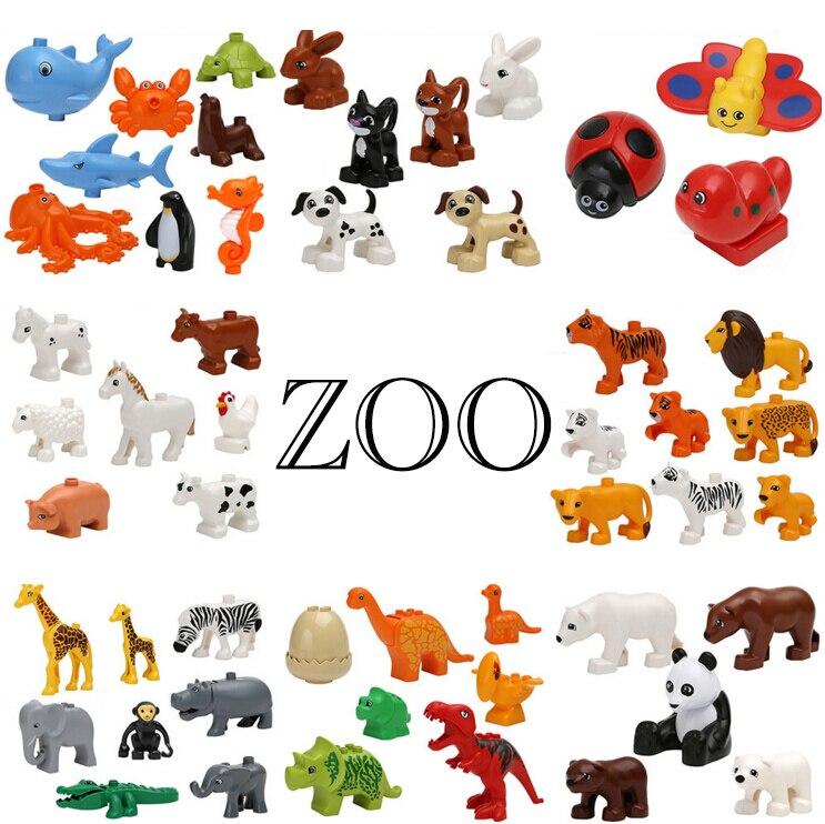 Duplos Animal Model Figures Building Block Sets Panda Horse lion Ocean world font b toys b