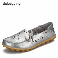 2016 Spring Autumn Women Genuine Leather Shoe Loafers Slip On Ballet Flats Boat Fashion Casual Moccasins
